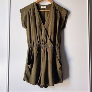 Aritzia Babaton Corbett silk olive green romper